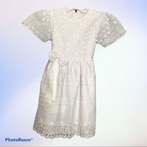 White Embroidered Lace Short Sleeved Dress